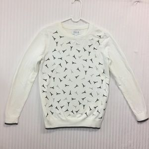 ELLE Small White Eiffel Tower Sweater EUC